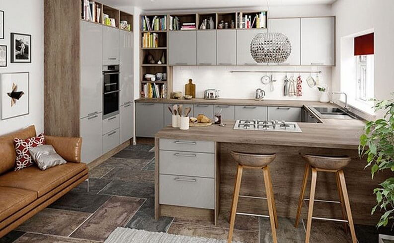 small kitchen island against the wall