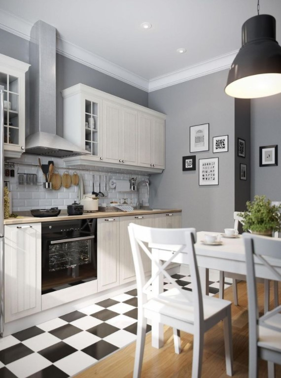 two tone grey kitchen cabinets